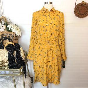 NEW Ralph Lauren Floral Mustard Yellow Midi Dress